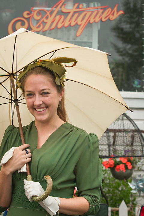 Jolynn Lee in period dress during Golden Days Parade, Fairbanks, Alaska