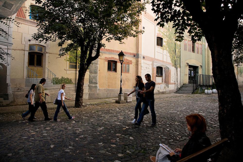 The facade of an old Belgrade brewery on Skadarska Street.