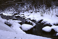 A snowy mountain creek in the heart of Daisetsuzan National Park at Sounkyo.