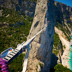 Simon Egger on an almost forced highline send, to record some additional and EPIC head cam GoPro footage. Thanks for the patience buddy!.Sardinia Sailing & Highlining Expedition 2012..www.pedropimentel.net