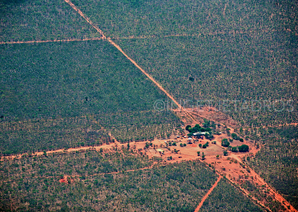 Aerial view of a remote cattle station in the Kimberley, WA