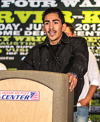 CARSON - MAY 31: Boxer Leo 'Teremoto' Santa Cruz at Home Depot Center Press Conference. All fees must be ageed prior to publication,.Byline and/or web usage link must read PHOTO Eduardo E. Silva/SILVEX.PHOTOSHELTER.COM Failure to byline correctly will incur double the agreed fee.
