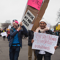 Dan Berger (left) and an unidentified man march in the Women's March on Washington D.C., January 21, 2017