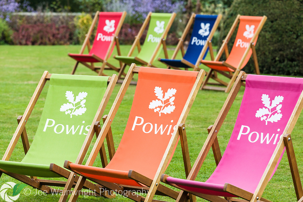 Colourful National Trust deckchairs on the lawn of the Lower Garden at Powis Castle, Welshpool