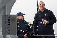 Image licensed to Lloyd Images - Free for editorial use<br /> The 2015 Artemis Challenge as part of Aberdeen Asset Management Cowes Week 2015. Cowes. Isle of Wight. Pictures of Zara Phillip and Mike Tindall on board Artemis Ocean Racing II at the start of the 2015 Artemis Challenge Credit: Lloyd Images