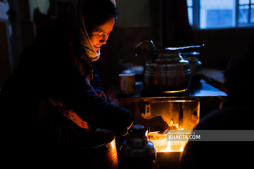 Every home in Spiti has a room which is kept warm with fire