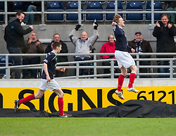 Falkirk's David Weatherston (14) celebrates after scoring their goal..Falkirk 1 v 0 Dunfermline, 16/2/2013..©Michael Schofield.