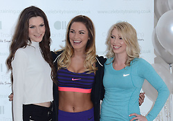 Sophie Bradshaw, Samantha Faiers and Nicola Attrill attend photocall to launch Samantha's new fitness website 'Celebrity Training with Samantha' at The Worx, London on January 6th 2015 London on Tuesday 6 January 2015