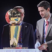 The Philadelphia 76ers 1982-83 NBA championship trophy sits on display during a NBA D-league regular season basketball game between the Delaware 87ers and the Raptors 905 Friday, Jan. 15, 2016. at The Bob Carpenter Sports Convocation Center in Newark, DEL.