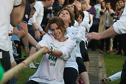 Westminster, London, June 6th 2016.The judge prepares for another match as teams from uk industry as well as the House of Commons and the House of Lords compete in the annual McMillan Cancer Charity tug o' war. PICTURED: Jo Cox MP competes with colleagues in the House of Commons tug-of-war team.