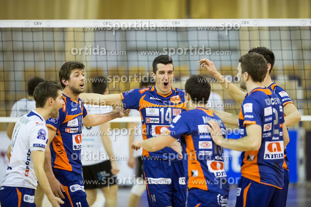 Players of ACH Volley during volleyball match between ACH Volley and Calcit Kamnik in Mevza league, on November 10, 2012 at Hala Tivoli, Ljubljana, Slovenia. (Photo By Matic Klansek Velej / Sportida)