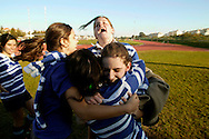 Tecnico player gets congratulated by team mates after she knew that she was picked up for National Squad.