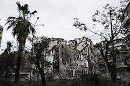 SYRIA, ALEPPO. Destructed building by regime airstrike in Bustan Al Bashar neighborhood in Aleppo . ALESSIO ROMENZI