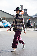 Green Hat and Striped Jacket, Outside Dries Van Noten FW2016