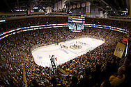A General view of the TD Bank Garden during the singing of the National Anthem before the start of game 6 of the Stanley Cup Finals between the Vancouver Canucks and the Boston Bruins on Monday night June 13, 2011 in Boston, Massachusetts.
