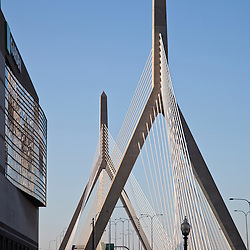 Leonard P. Zakim Bunker Hill Bridge, the widest cable-stayed bridge in the world and the TD Garden left, Boston Massachusetts