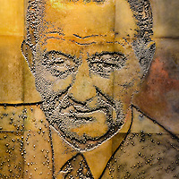 LBJ Bas-relief Mural of Lyndon Johnson at Presidential Library in Austin, Texas<br /> This is a bas-relief of Lyndon Baines Johnson as the 36th President. The photo-engraving is one of five, eight-by-ten feet, etched magnesium plates by Naomi Savage at the LBJ Presidential Library in Austin, Texas. This impressive mural in the Great Hall below the library stacks also includes the likeness of Presidents Franklin Roosevelt, Harry Truman, Dwight Eisenhower and John Kennedy.