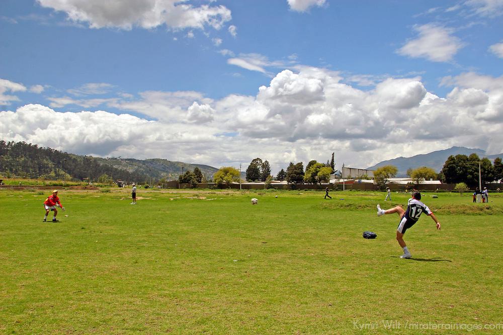Americas, South America, Ecuador, Quito. Locals practice soccer, or football, a popular sport in Ecuador.