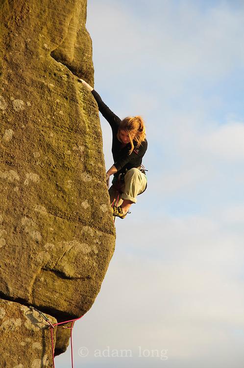Hazel Findlay climbing Usurper, E4, Curbar, Peak District