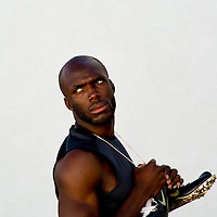 6/12/12 6:24:36 PM -- Bradenton, FL. -- Olympian LaShawn Merritt, who competes in the 400 meters, poses for a portrait at the IMG Performance Institute in Bradenton, Florida. ...Photo by Chip J Litherland, Freelance.