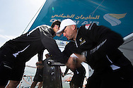 La Route des Princes. Valencia. Spain.<br /> The Oman Air Musandam MOD70.<br /> Images showing crew member Giles Favennec (FRA) onboard during training<br /> Credit: Lloyd Images