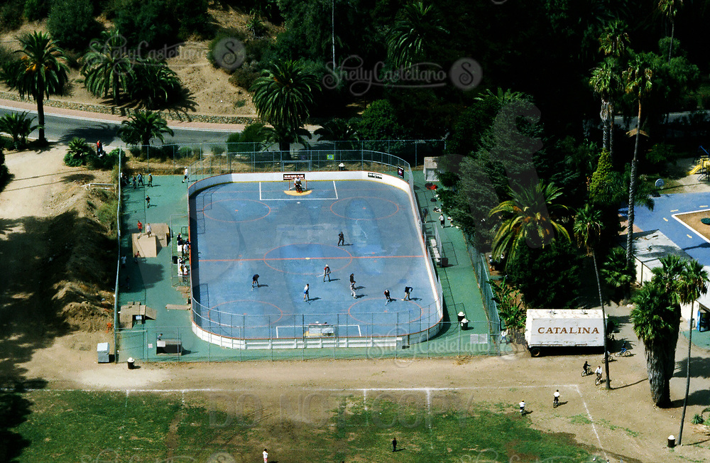 3 October 1998: Outdoor roller hockey in-line skating rink on Catalina Island, Catalina, Los Angeles County California. Aerial photo.