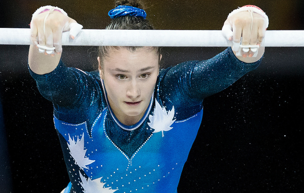 Athletes compete in artistic gymnastics at the Pan Am Games in Toronto on July 14, 2015.