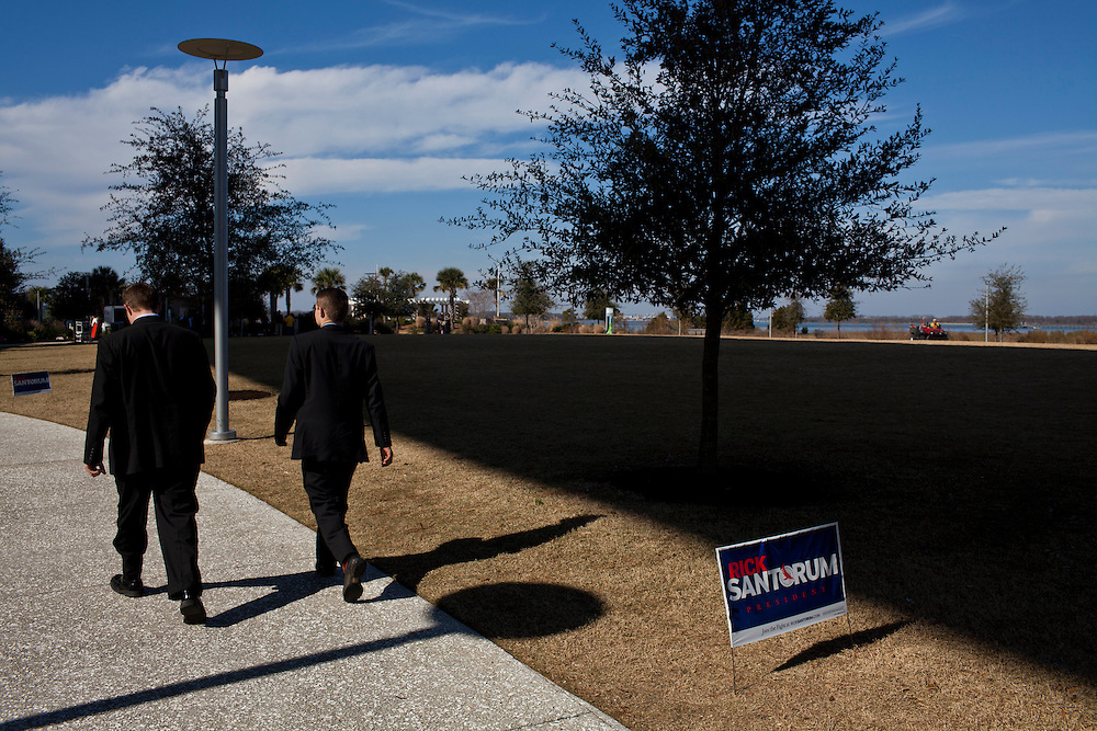 People arrive for a campaign event with Republican presidential candidate Rick Santorum on Thursday, January 19, 2012 in Mt. Pleasant, SC.