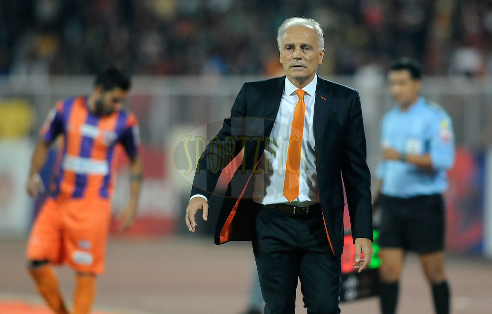 FC Pune City coach Franco Colomb during match 44 of the Hero Indian Super League between FC Pune City and Atletico de Kolkata FC held at the Shree Shiv Chhatrapati Sports Complex Stadium, Pune, India on the 29th November 2014.<br /> <br /> Photo by:  Pal Pillai/ ISL/ SPORTZPICS
