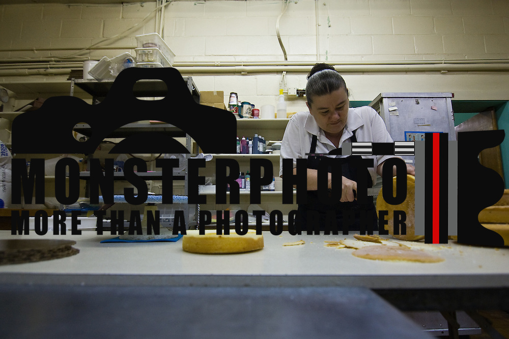 8/26/10 Newark, DE: Peggy prepares cakes for icing in the early morning hours  at Bing's In Newark. Special to The News Journal/SAQUAN STIMPSON