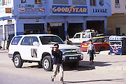 UN vehicles in the Western Saharan town of Layounne