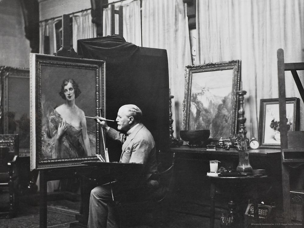 John William Schofield, painter, with his portrait of Maud Allen, England, UK, 1932