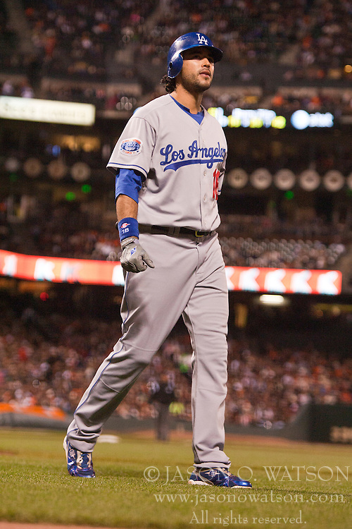 September 14, 2010; San Francisco, CA, USA;  Los Angeles Dodgers right fielder Andre Ethier (16) returns to the dugout after striking out against the San Francisco Giants during the fourth inning at AT&T Park.