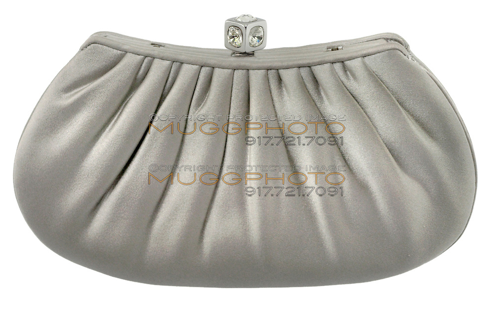 pleated silver clutch with a diamond clasp