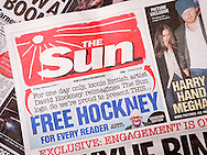 Front page of The Sun newspaper with a new logo designed by Artist David Hockney - 03 Feb 2017