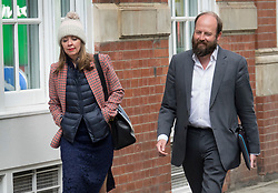© Licensed to London News Pictures. 26/04/2017. London, UK. Prime Minister Theresa May's Joint Chiefs of Staff Fiona Hill and Nick Timothy are seen walking to Conservative Party Headquarters.  Parliament will be dissolved on Wednesday 3rd May ahead of the general election on June 8th, 2017.  Photo credit: Peter Macdiarmid/LNP
