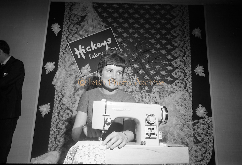Miss Brigid Flynn, from Fenagh, Co Leitrim, tries out the new Brother sewing machine which she won as part of her prize for being Bride of the Year 1967. <br /> 17.05.1968