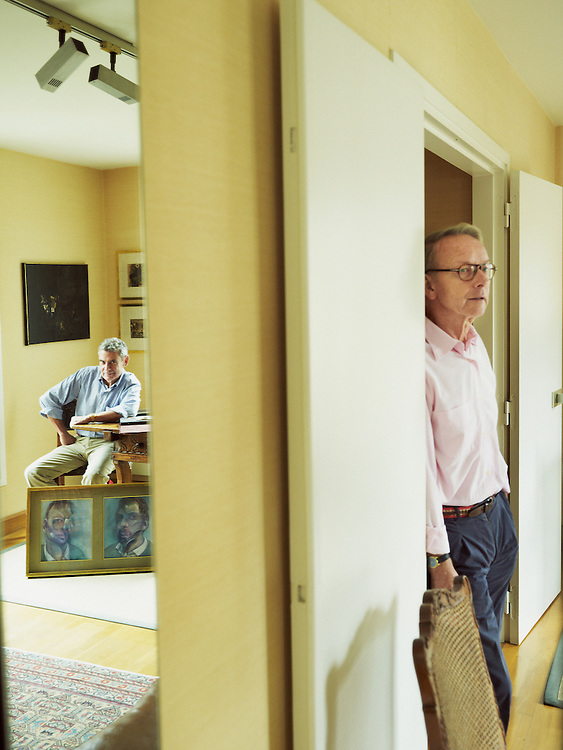 PARIS, FRANCE. September 13, 2012. Eddy Batache and Reinhard Hassert at home, showing the portrait painter Francis Bacon made of them when they were close friends. Photo: Antoine Doyen