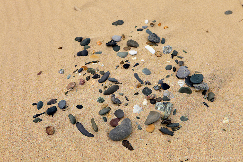 Europe, Ireland, Brittas Bay. Pebbles on the sands of Brittas Bay, County Wicklow.