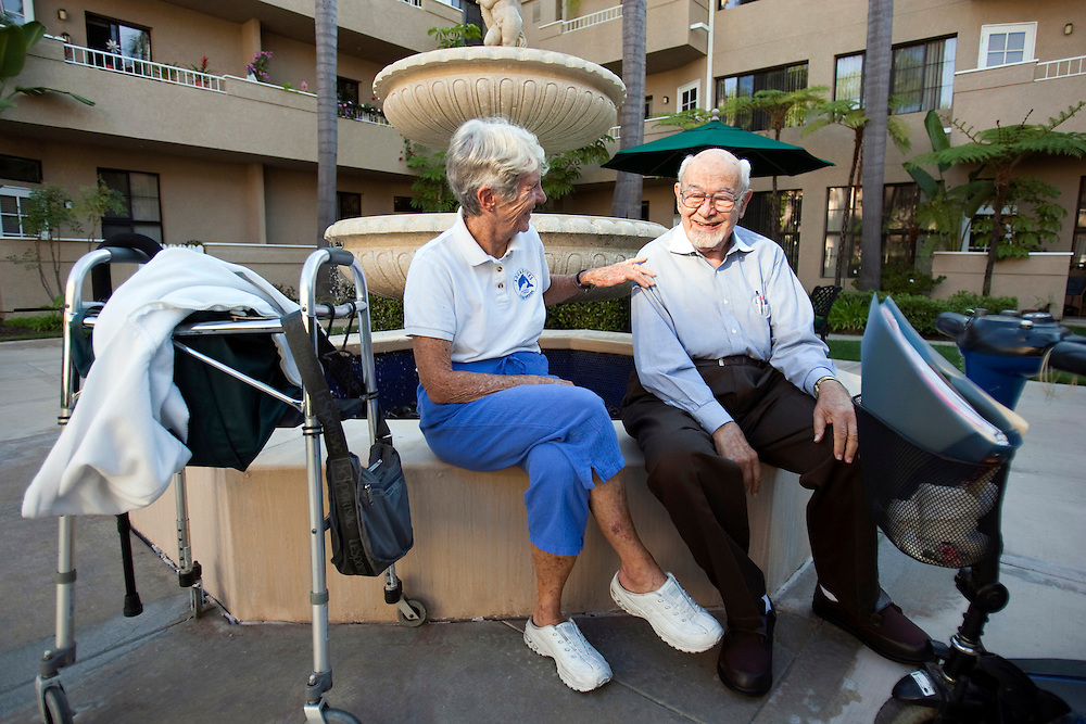 Margo Bouer with her friend and fellow advocate William Schwied, MD at the assisted living facility in Laguna Woods. Both believe in the right to grow and use marijuana for medicinal purposes.