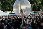 LONDON - JULY 20:  Frontman Wayne Coyne of The Flaming Lips surfs the crowd in a giant transparent ball during day one of the Love Box Weekender at Victoria Park on July 20, 2008 in London England.  (Photo by Simone Joyner/Getty Images) *** Local Caption *** Wayne Coyne