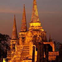 Evening colors, Wat Phra Si Sanphet, UNESCO World Heritage Site, Ayutthaya, Thailand