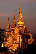 Evening colors, Wat Phra Si Sanphet, UNESCO World Heritage Site, Ayutthaya, Thailand