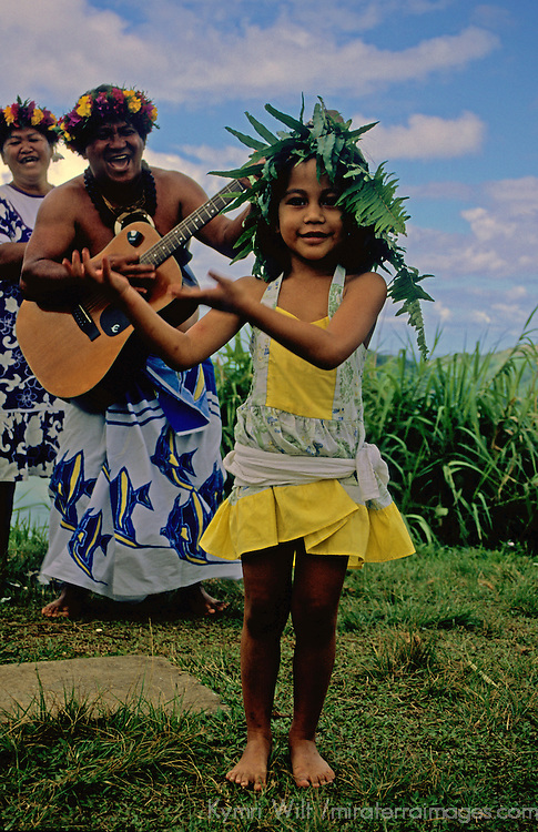 French Polynesia, Tahiti, Taha'a. Young Tahitian girl dances for tourists.