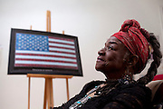 "ENGLEWOOD, NJ - June 07, 2013 : Civil rights political artist Faith Ringgold, 82, in her studio at her home in Englewood, NJ on June 07, 2013. Faith Ringgold was one of the leaders of the Black Arts Movement of the 1960's, gaining worldwide prominence for her quilts. ""American People, Black Light: Faith Ringgold's Paintings of the 1960's"" is a retrospective of race, reconciliation, activism and feminism, from one of the most tumultuous periods in American history."