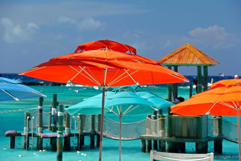 Caribbean, Bahamas, Castaway Cay. Umbrellas and Shade at Castaway Cay.