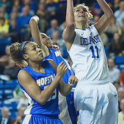 01/26/12 Newark DE: Delaware Junior Forward #11 Elena Delle Donne drives to the hoop during a NCAA Women's College basketball game against Hofstra Thursday, Jan. 26, 2012 at the Bob carpenter center in Newark Delaware.<br /> <br /> All-American Elena Delle Donne erupted for a season-high and building record of 41 points.