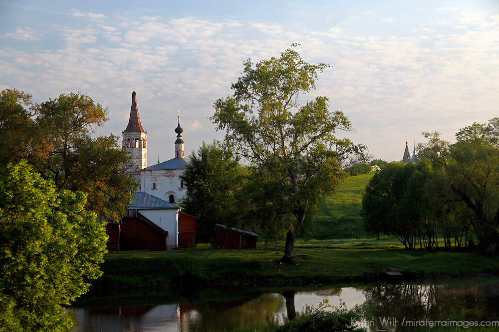 Europe, Russia, Suzdal. Landscape scene of Suzdal and the Kamenka River.