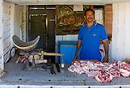 Butcher in Puente de Cabezas, Pinar del Rio, Cuba.