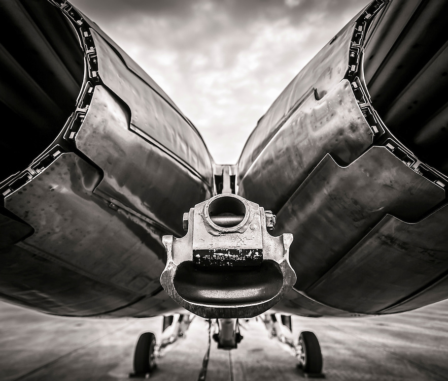 Exhaust and arresting hook of a Blue Angels F-18 Super Hornet.  Naval Air Station Pensacola, Florida.